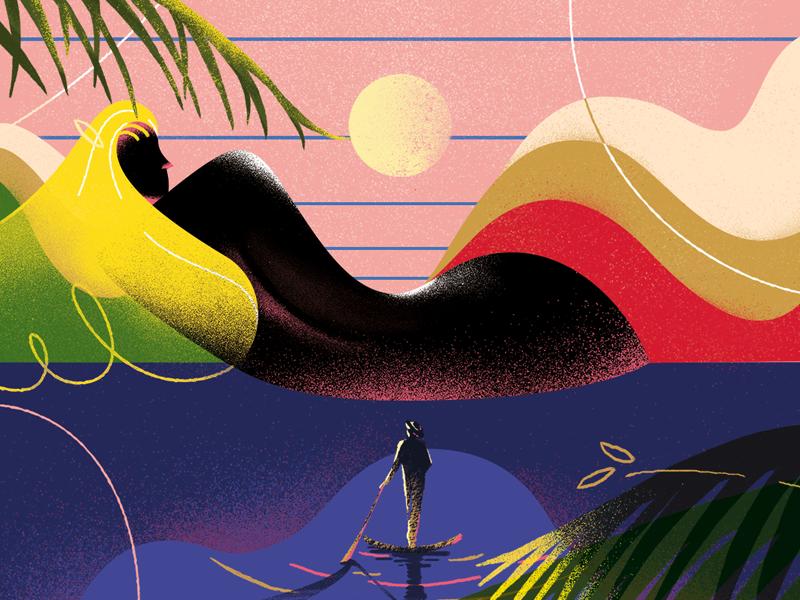 抽象艺术 大胆多彩 绘画图形 插图 印风格 女人-炫彩插画 海螺邦
